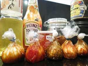 Ajitamago eingelegte Eier Ketchup Soja sauce Miso Mirin